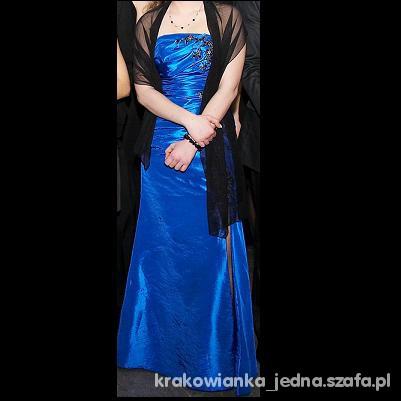 Kobaltowa suknia wieczorowa CENA Z PRZESYŁKĄ