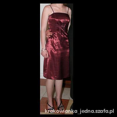 Suknie i sukienki Bordowa sukienka CENA Z PRZESYŁKĄ