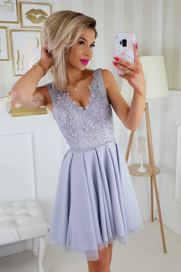 c86893a61a2334 Piękna sukienka koronka szara BEZ RĘKAWÓW w Suknie i sukienki - Szafa.pl