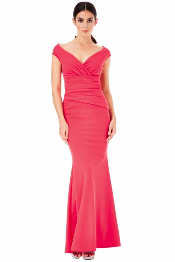 01337fb19c5f Koralowa długa sukienka na wesele z marszczeniem w Suknie i sukienki ...