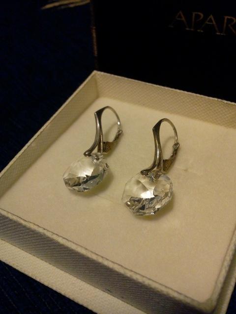 Nowe srebrne 925 kolczyki swarovski octagon
