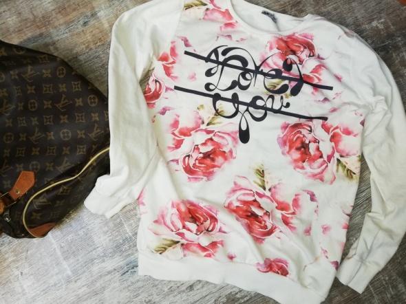 bluza biała kwiaty