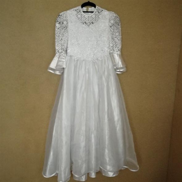 Biała zwiewna sukienka komunijna alba z koronką 134 cm