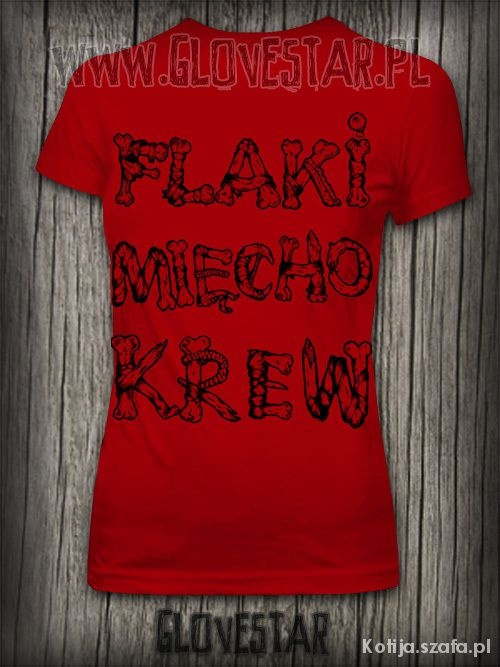 Czerwona koszulka Flaki mięcho krew GLOVESTAR...