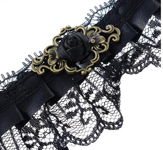 Gotycka koronkowa kolia choker dusik wstążka