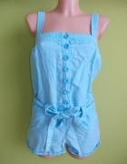 Kombinezon lniany krótki niebieski New Look 36 38...