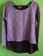Sweter bordowy dół szyfonowy Next 42...