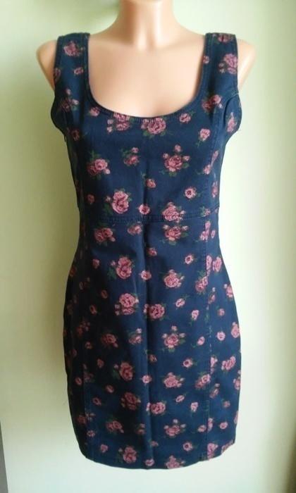 Sukienka ołówkowa jeansowa w kwiaty Denim Co 38 40...