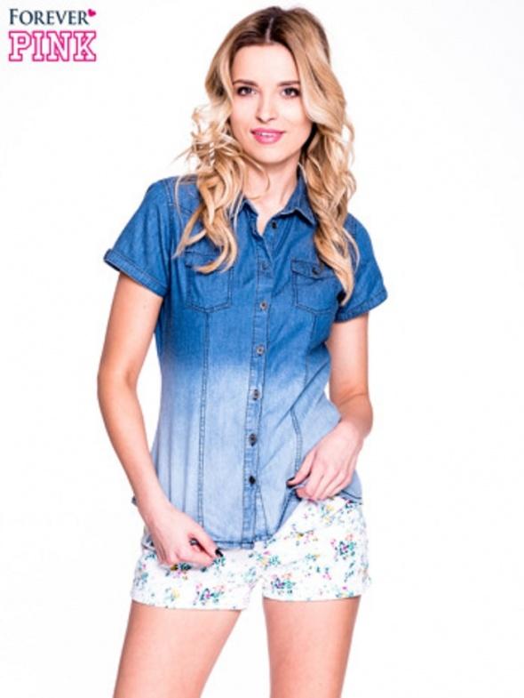 Granatowa jeansowa koszula z krótkim rękawem ombre