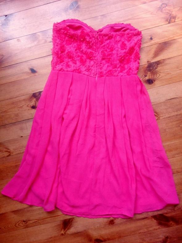 Suknie i sukienki Koralowa szyfonowa imprezowa 42