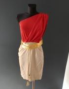 Sukienka na jedno ramię z kieszeniami