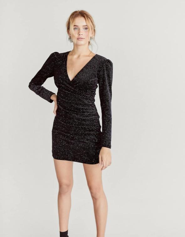 2bbc0bfc64 Suknie i sukienki Aksamitna sukienka Stradivarius czarna mini HIT rozmiar XS  S