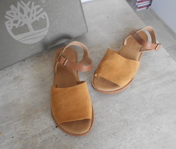 Timberland nowe sandały żółte cieliste nude skóra skórzane w
