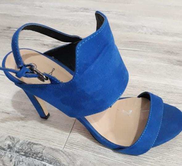 Szpilki niebieskie kobaltowe sandały...