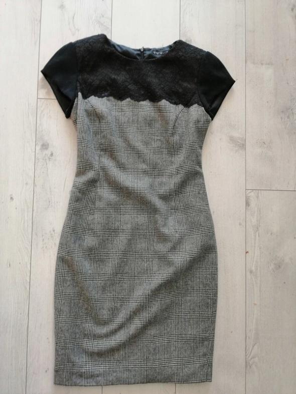 sukienka zara szara biurowa