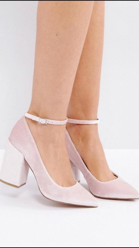Velvetove buty na klocku asos 40 41...
