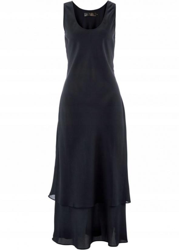 Czarna warstwowa elegancka sukienka maxi...