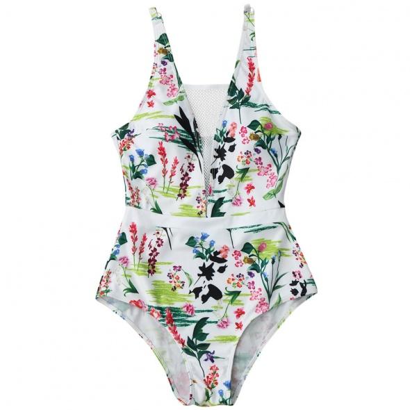 58258ca53e142d Stroje kąpielowe Nowy strój kąpielowy kostium M 38 L 40 biały kwiaty floral  siateczka