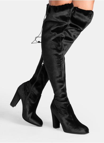 Kozaki Czarne kozaki za kolano Caroline Velvet 37