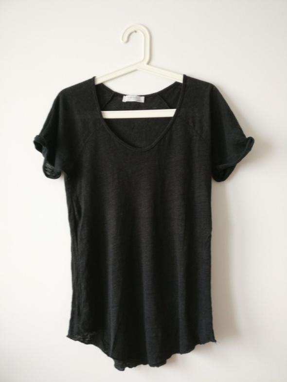 Zara koszulka M S czarna basic minimalizm
