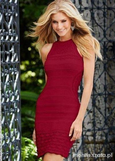 f19a54786a RAINBOW czerwona dzianinowa sukienka 34 w Suknie i sukienki - Szafa.pl