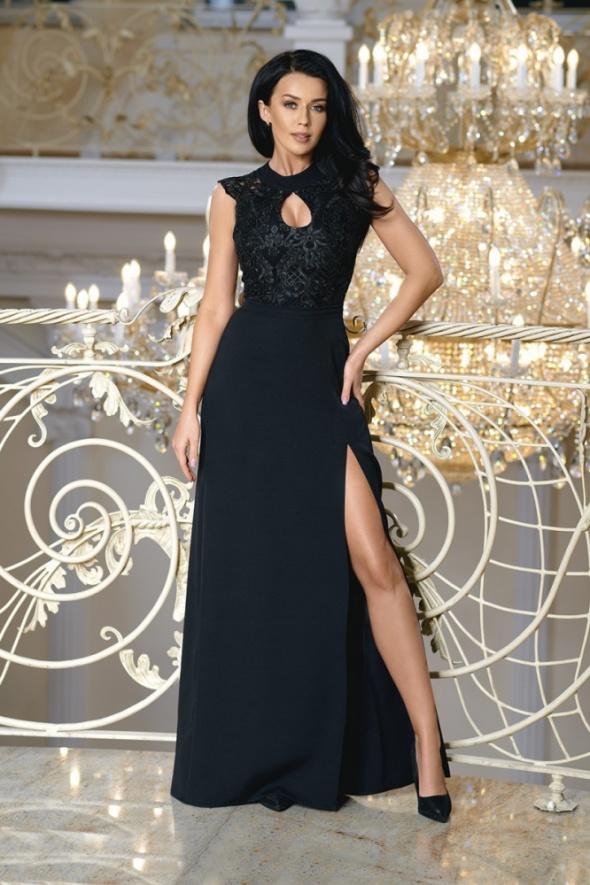 c0cde0ef77 Długa suknia z rozcięciem koronka czarna w Suknie i sukienki - Szafa.pl