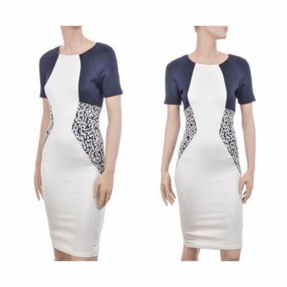 Piękna nowa sukienka AX PARIS jacquard panel dress czarno kremo...