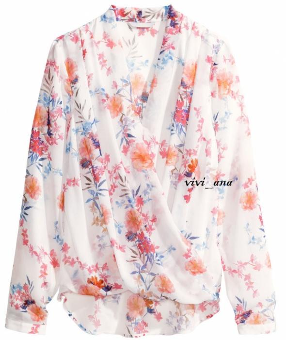 koszula w kwiaty H&M kopertowa floral XS S
