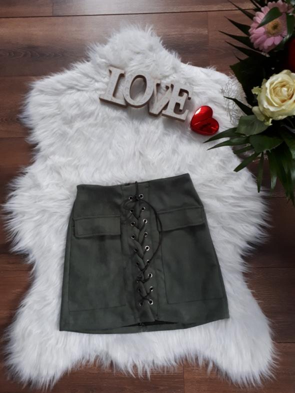 Spódnice nowa zamszowa sznurowana HIT 2019 khaki