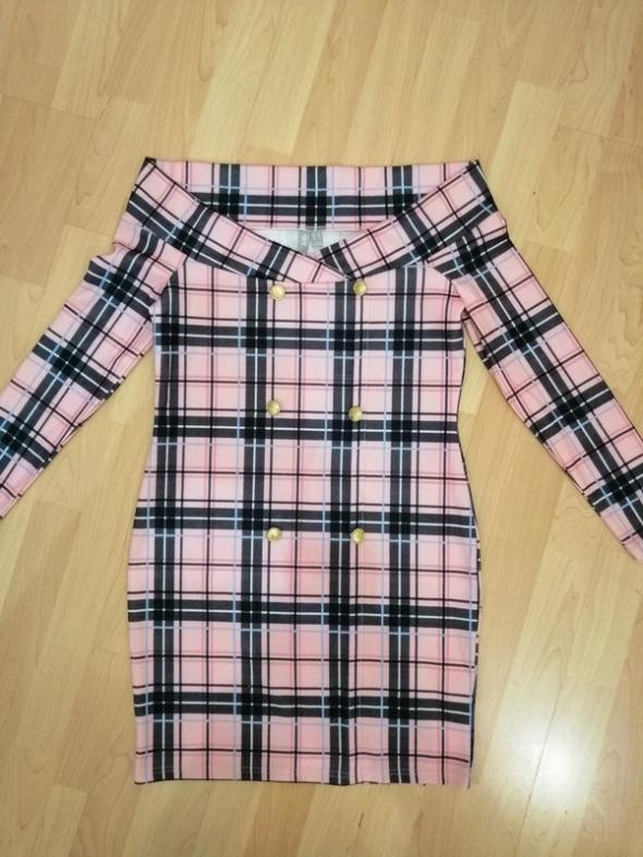 ASOS nowa sukienka różowa w kratkę odkryte ramiona hiszpanka la...