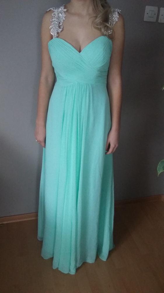 4722e8275a Zwiewna mietowa elegancka sukienka maxi M w Suknie i sukienki - Szafa.pl