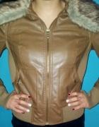Karmelowa skórzana kurtka z futerkiem S lub M...