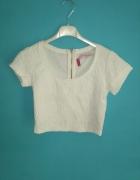 Biała krótka bluzka bershka S...