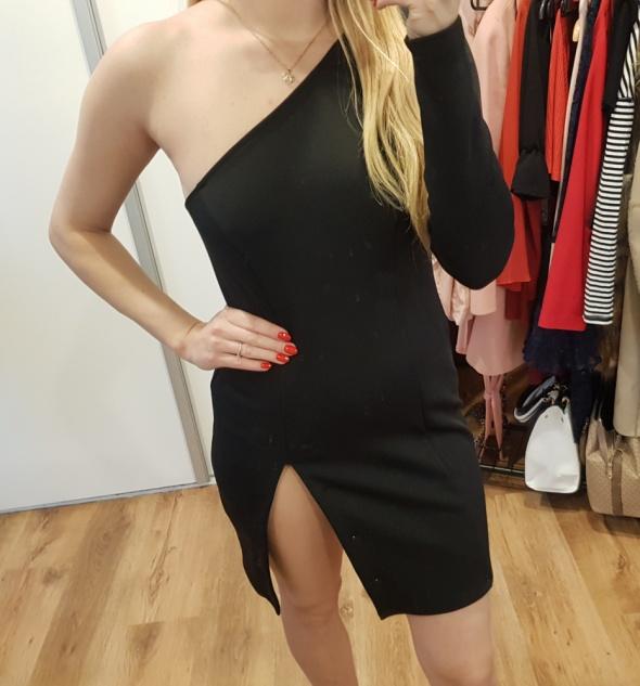 Asos czarna sukienka rozporek na jedno ramię M L...