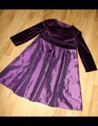 Śliwkowa sukienka na 2 do 3 lat elegancka...