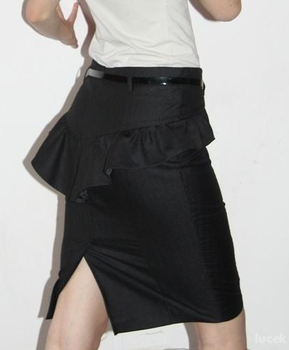 Spódnice Spódnica tulipan z baskinka falbana czarna Orsay X