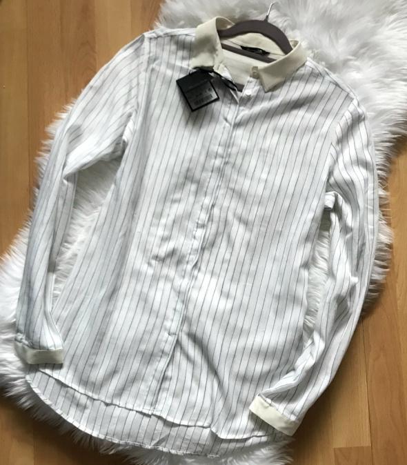 Massimo Dutti Nowa koszula paski biel