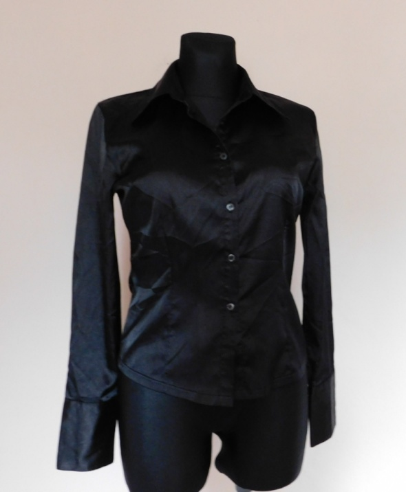 Repeat czarna bluzka koszula satynowa 38...