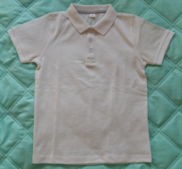 Koszulki, podkoszulki GŁADKA BIAŁA KOSZULKA POLO ZAPINANA NA GUZICZKI I Z MAŁĄ SKAZĄ FABRYCZNĄ