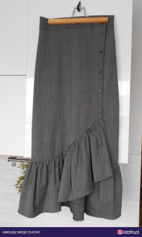 accd6461 Zara nowa spódnica midi w kratę z falbaną guziki falbanki w Spódnice ...