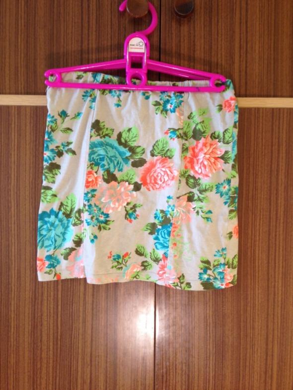 Spódnica kwiaty smoove S M 34 36 38 XS szara pastelowe róże obc...