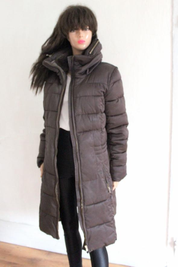 Zimowy ciepły długi płaszcz r XL