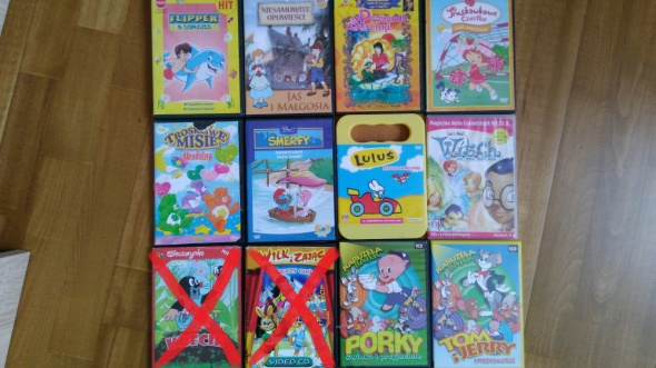 12 bajek między inymi Wilk i Zając Krecik Tom i Jerry