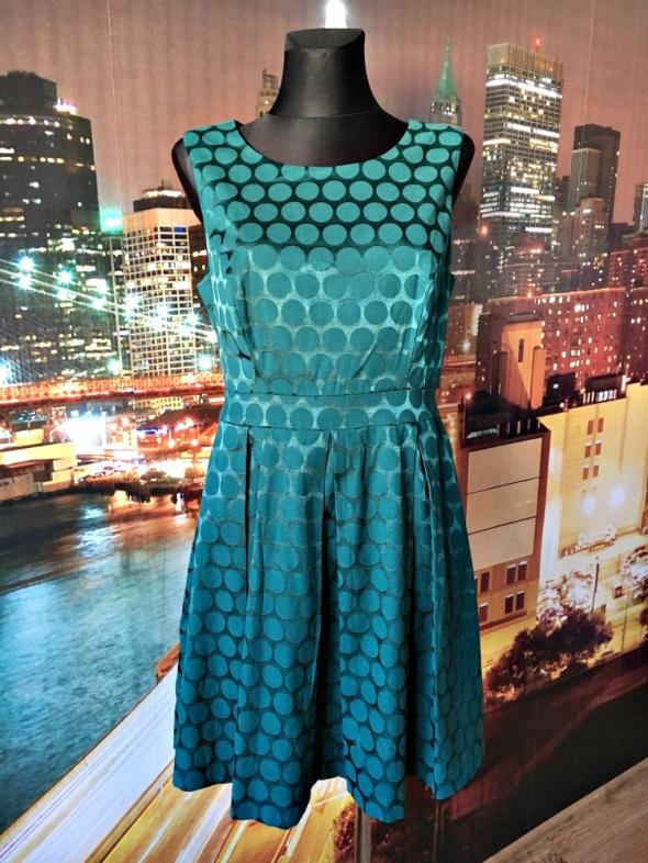 forever 21 sukienka grochy butelkowa zieleń zip 38