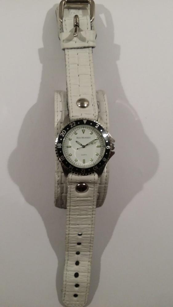 Nowy skórzany zegarek Red Monkey biały