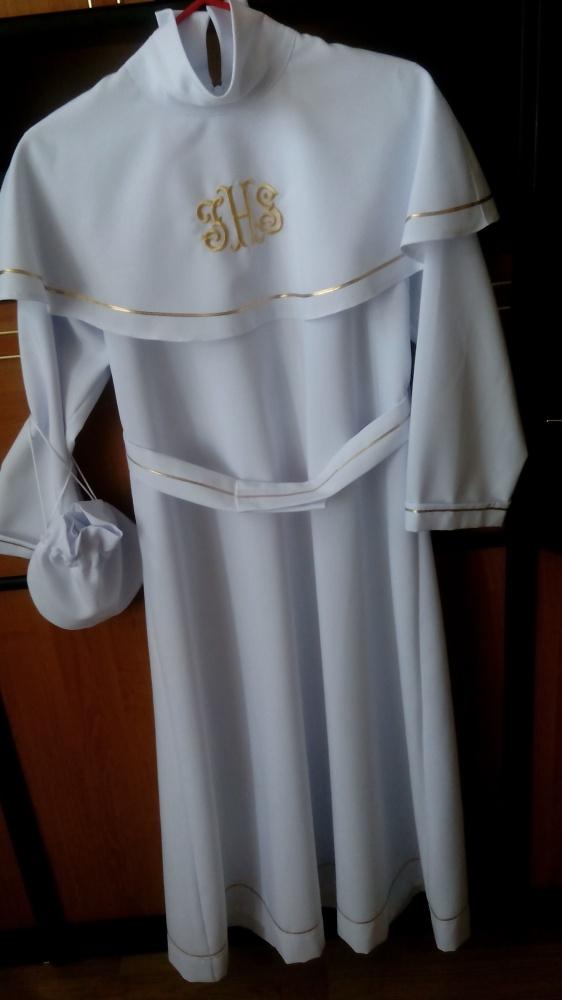 Alba szata torebka futerko wianek oraz rękawiczki do pierwszej komunii świętej dla dziewczynki jak nowa