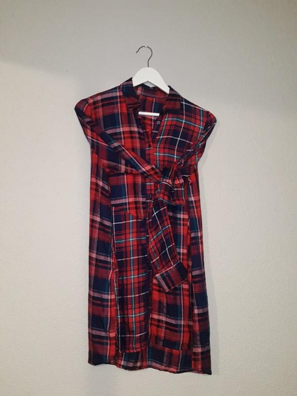 Suknie i sukienki ZARA sukienka tunika krata 40 L 12