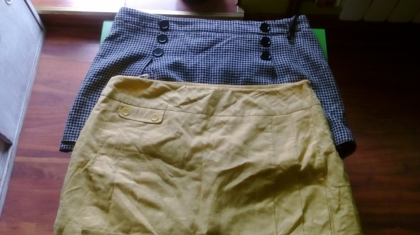 Spódniczki mini krata i żółta 46 44