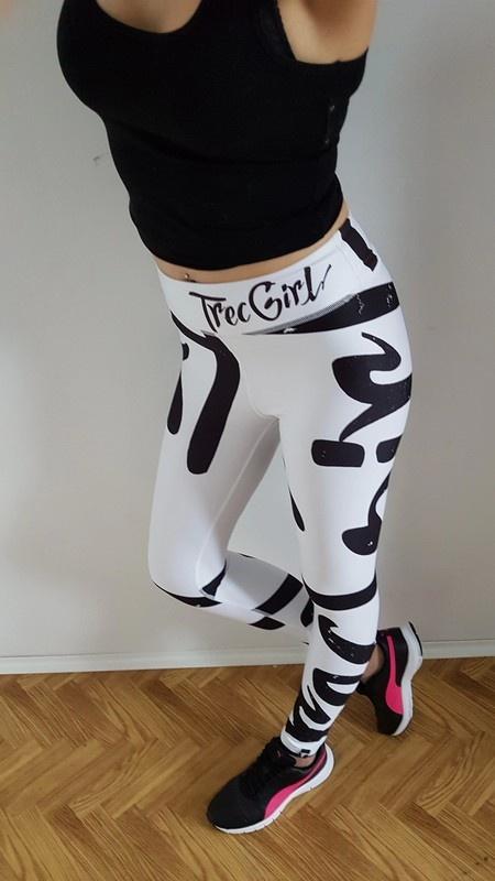 NOWE TrecWear legginsy białe trecgirl napis print hit