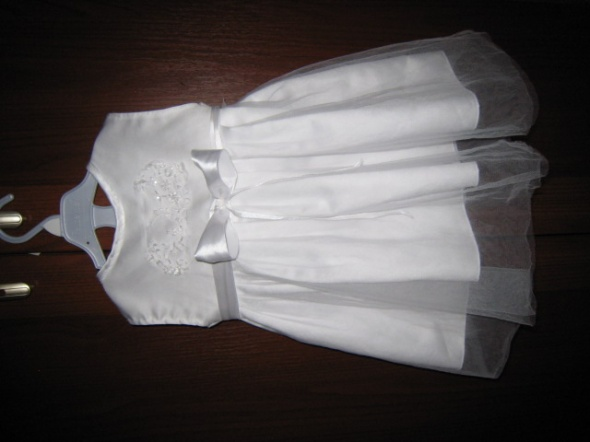 sukienka biala na chrzest 74 80